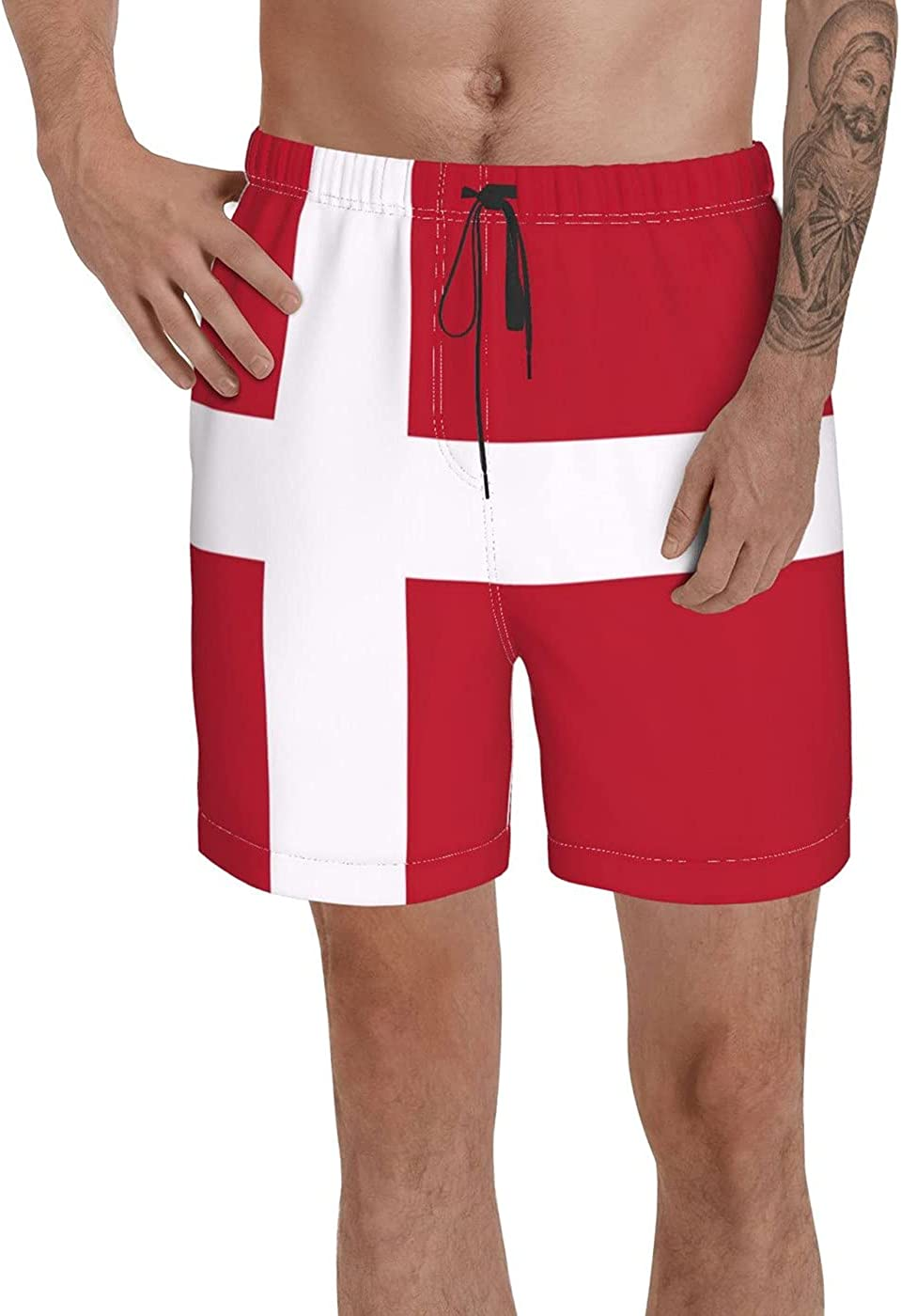Count Denmark Flag Men's 3D Printed Funny Summer Quick Dry Swim Short Board Shorts with