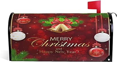 Merry Christmas Welcome Large Magnetic Mailbox Post Box Cover Wraps, Happy New Year Makover MailWrap Garden Home Decor