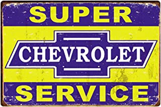Retro Vintage Tin Sign, Chevrolet Chevy Super Service, Wall Metal Posters Plaques for Home Bar Garage Man Cave, 8'x12'/20x30cm