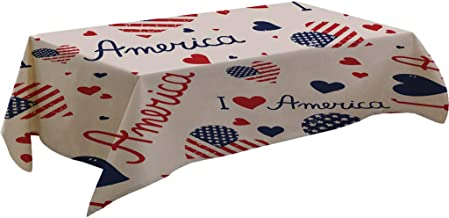 4th of July Decorations Table Cloth Cotton Blend Rectangular American Flag Graphic Independence Day Freedom Table Covers Washable Durable Tablecloth for Kitchen Dining Decor 55