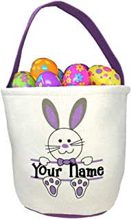 Personalized Purple Easter Basket with Bunny Rabbit and Name Banner Custom Egg Hunt Tote Bag - Your Choice of Free Name