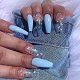 Feilisa Pink French Press on Nails Extra Long False Nails Ballerina Coffin Fake Nail Full Cover False Nail - Tips for Women and Girls 24 pcs  (Blue Butterfly)