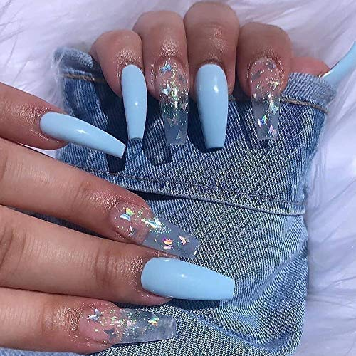 Feilisa Extra Long Fakes Nails Women's Press on Coffin Nails Acrylic Transparent False Nails Full Cover Butterfly Nails 24pcs (Blue Butterfly)