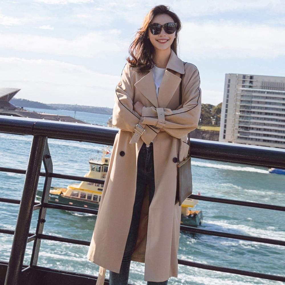 GZSZYA Women's Windbreaker Waist Wide Loose Long Windbreaker Jacket Women Women's Trench Coats (Color : Khaki, Size : XXL)