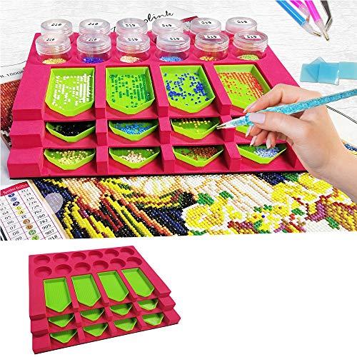 GUKIBO 5D Diamond Painting Tray Organizer, DIY Diamant Malerei Tools für Erwachsene, Diamond Arts Zubehör-Kit mit 12 Steckplätzen für Bohrschalen