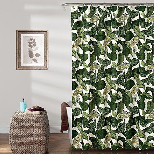 "Lush Decor, Green Tropical Paradise Shower Curtain-Fabric Leaf Rainforest Island Print Design, 72"" x 72"""