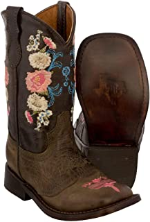 Girl's Brown Toddler Floral Embroidery Cowgirl Boots Square Toe 12 Toddler