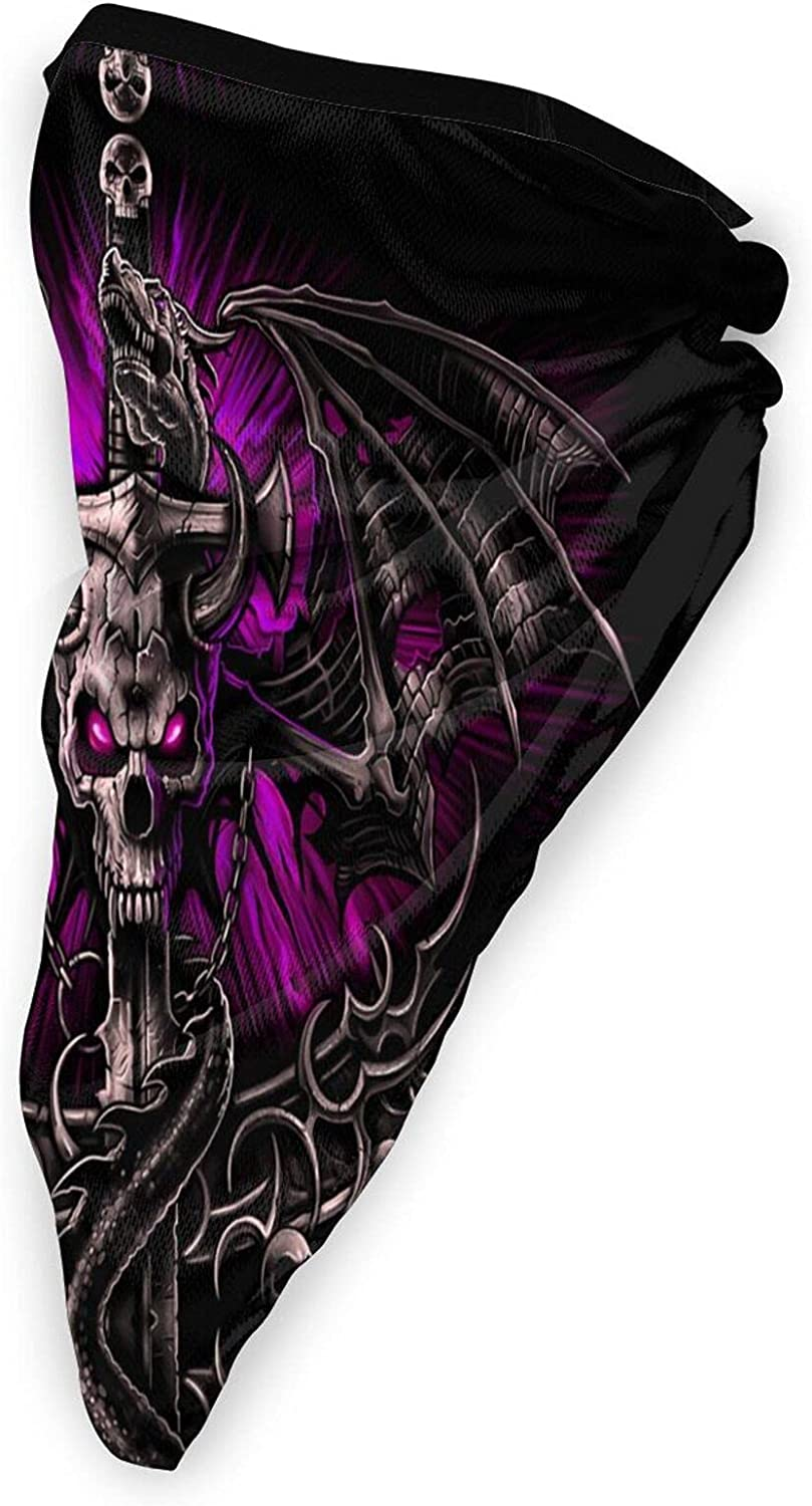 Dragon Skull Neck Gaiter Bandnas Face Cover Uv Protection Prevent bask in Ice Triangle Scarf Headbands Perfect for Motorcycle Cycling Running Festival Raves Outdoors Black