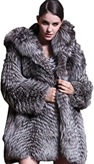559c395003a YR Love Women s Thick 100% Real Silver Fox Fur Coat with Hood
