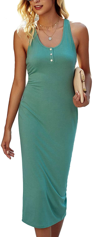 TEMOFON Women's Bodycon Dresses Fitted Racerback Sleeveless Sundress Scoop Neck Tank Midi Dress S-XL