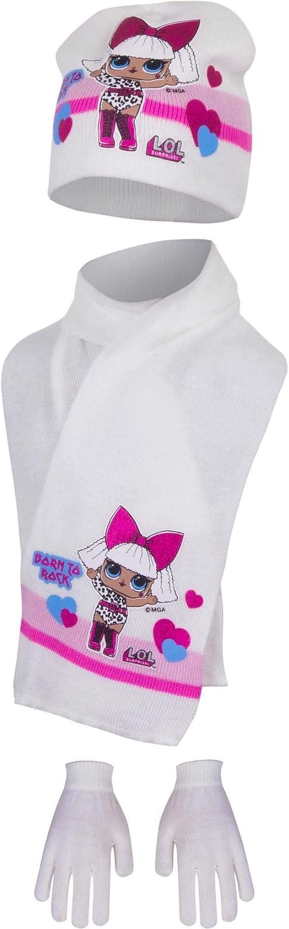 Bambina Vari Modelli- Full Print Guanti Set Invernale 2pz Cappello Prodotto Originale Art. 18-288 LOL Surprise!