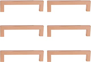 Rose Gold Cabinet Knobs 128mm 5inch Hole Spacing Drawer Pulls Modern Kitchen Hardware Square Bar Pull Handles – 6Pack