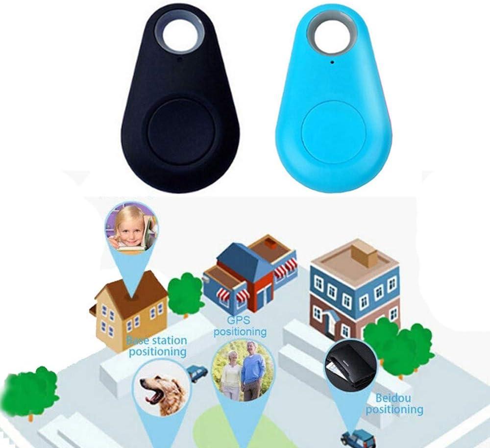 2 pcs Black+Blue 2 pcs Black+Blue GPS Tracker Collar Bluetooth Dog cat Key Wallet Bag Child Anti-Lost Child Tracker pet Smart Mini Waterproof Finder Wearable Device Selfie Shutter Tracking Device