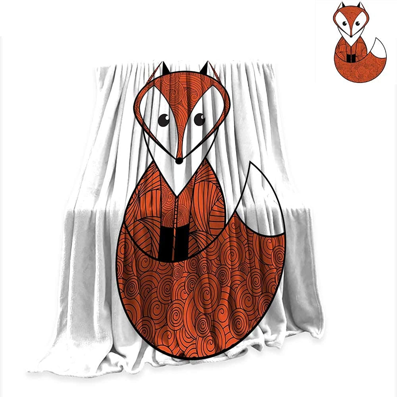 RenteriaDecor Lightweight Blanket Fox,Cartoon Young Fox Character with Spiral Patterns Cute Friendly Charming,Dark orange Black White Warm Microfiber Blanket W51 x L60 inch