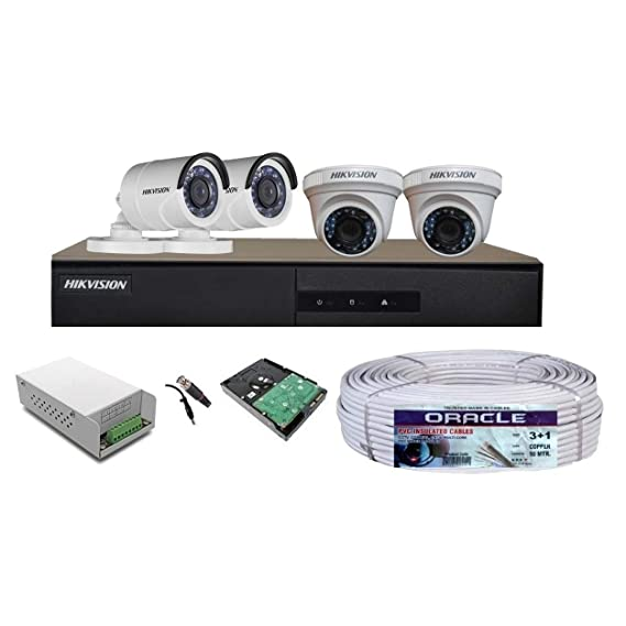 Hikvision 4CH Turbo HD Metal DVR with 1MP (720P) 2 Dome & 2 Bullet Cameras Full Combo Kit