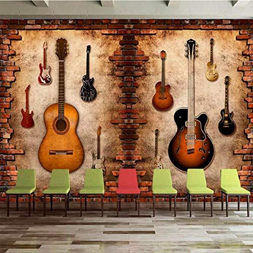 Mmneb Benutzerdefinierte Nostalgische Backsteinmauer Persönlichkeit Gitarre Musik Thema Bar Tooling Hintergrundbild 3D Backstein SteinA-280X200Cm
