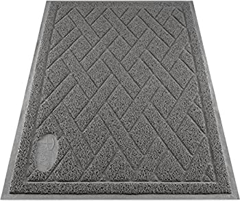 Pawkin Cat Litter Mat Patented Design with Litter Lock Mesh Extra Large Durable Easy to Clean Soft Fits Under Litter Box Litter Free Floors Gray
