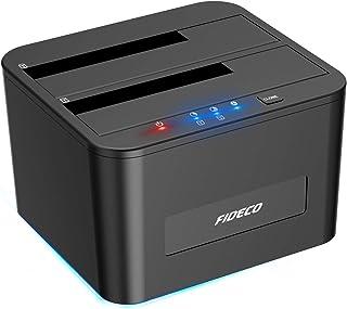 FIDECO HDDスタンド、USB3.0接続 2.5型 / 3.5型 SATA HDD/SSD対応、パソコンなしでHDDのまるごとコピー機能付き、2ベイ ハードディスクケース、10TB*2対応、電源アダプター付、ブラック