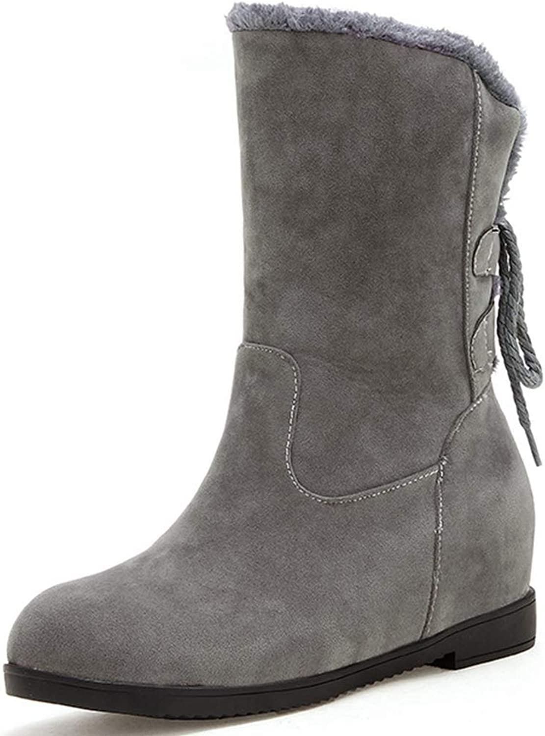 Sam Carle Women Boots, Winter Fashion Solid color Back Lace Up Round Toe Mid-Calf Boots