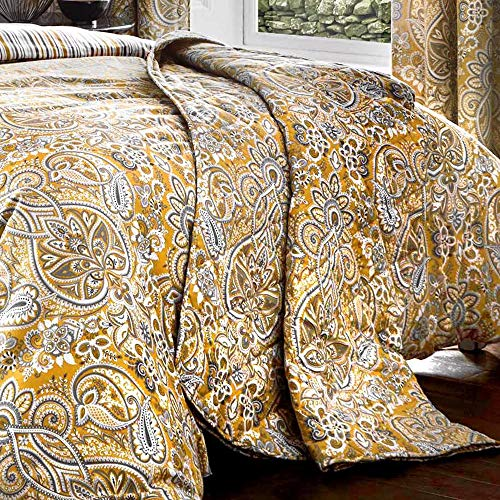 Dreams & Drapes - Maduri - Quilted Bedspread - 229cm X 195cm in Ochre