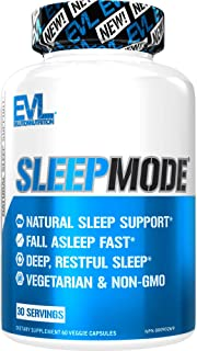 Evlution Nutrition Sleep Mode, Fall Asleep Faster, Melatonin, GABA, Valerian Root & More, Natural Aid for Deeper Sleep & R...