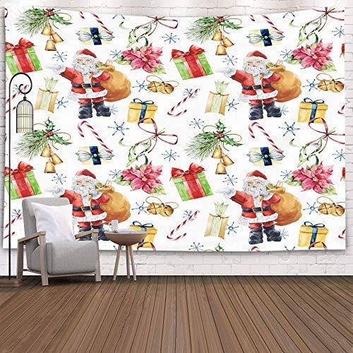 Tapices Deacutecor Sala de estar Dormitorio para el hogar en casa por Impreso para patrón de acuarela con Papá Noel y decoración tradicional de Navidad Caja de regalo pintada Lazo Campanas de caramelo