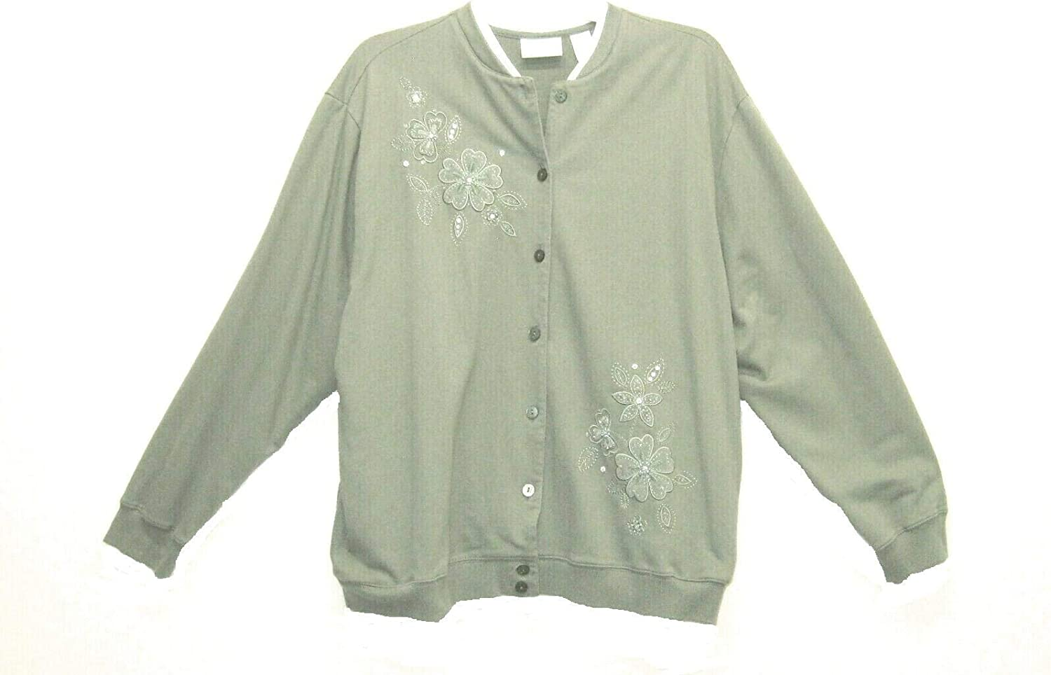Alfred Dunner New Lets Get Cozy Willow Green Knit Cardigan Button Down Jacket Sequins & Beads XL
