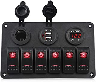 WonVon Rocker Switch Panel, Waterproof Digital Voltmeter Display 12-24V Blue Lighted Breaker Switches with Dual USB Charger for RV Marine Car Vehicles Truck Boat Fuse Panels