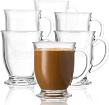 KooK Coffee Or Tea Glass Hot Mugs Set 15oz (Set of 6)