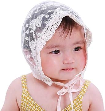 LACOFIA Sombrero de Princesa bebé recién Nacido Gorro de algodón de Encaje para bebé niña con Correa Ajustable