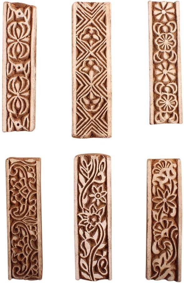 Elegant Dedication IndianShelf Handmade Brown Set of 6 Printing Wooden Bloc Mix New
