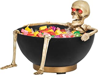 Gemmy Animated Light Up Skeleton Candy Bowl Halloween Decor, Multi-Color, One Size