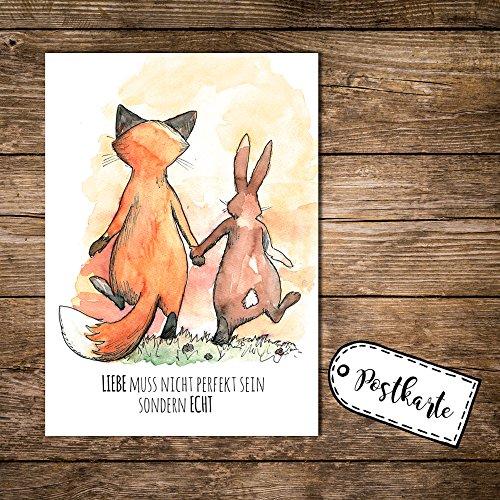 ilka parey wandtattoo-welt® A6 Postkarte Karte Print Fuchs und Hase mit Spruch Liebe muss Nicht perfekt Sein sondern echt pk06