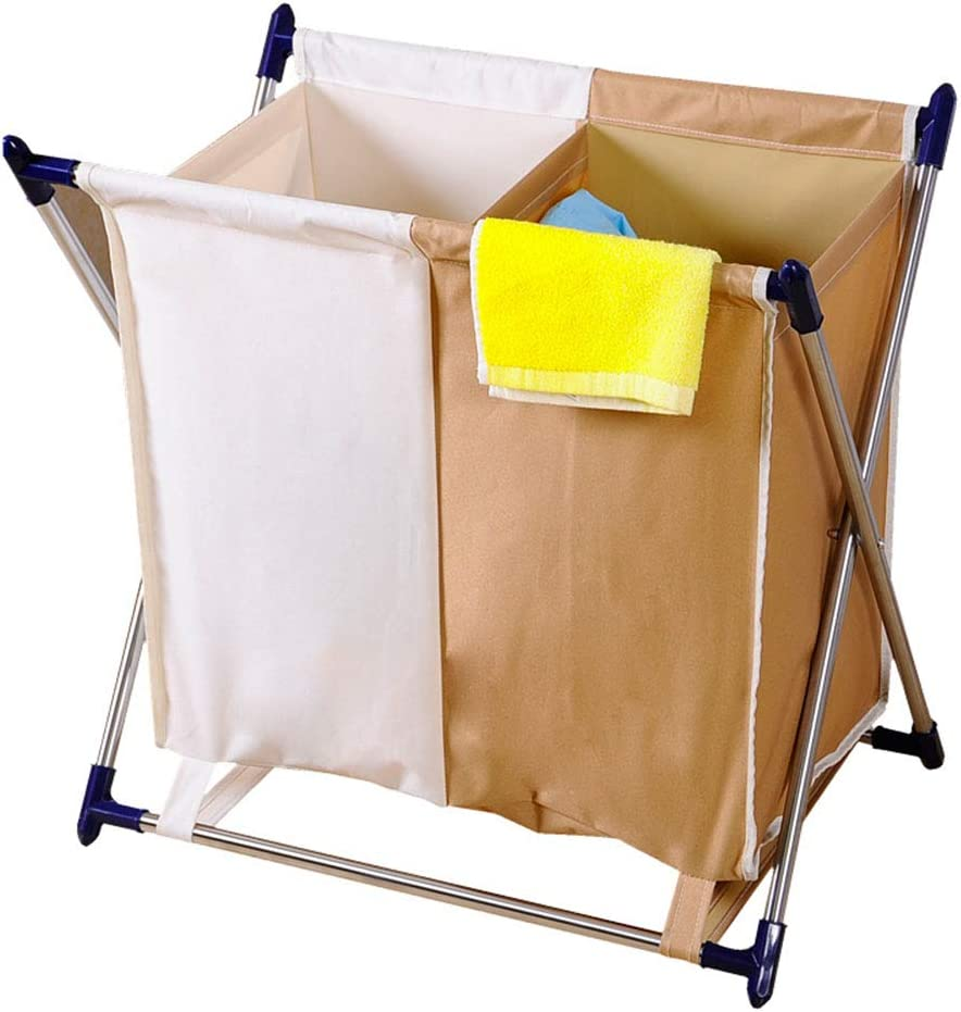 Direct Online limited product sale of manufacturer Large Foldable Fabric Laundry Basket Hamper 2 Section Collapsibl