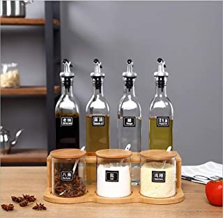 Lin-Yo Support à Condiments Rangement epices Cuisine Creative Square Bouteille D'huile Bouteille De Vinaigre Assaisonnemen...