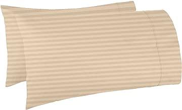 "AVI Set of 2 Sateen Striped Cotton 250 TC King Size Pillow Cover, Golden 20""x 36"""