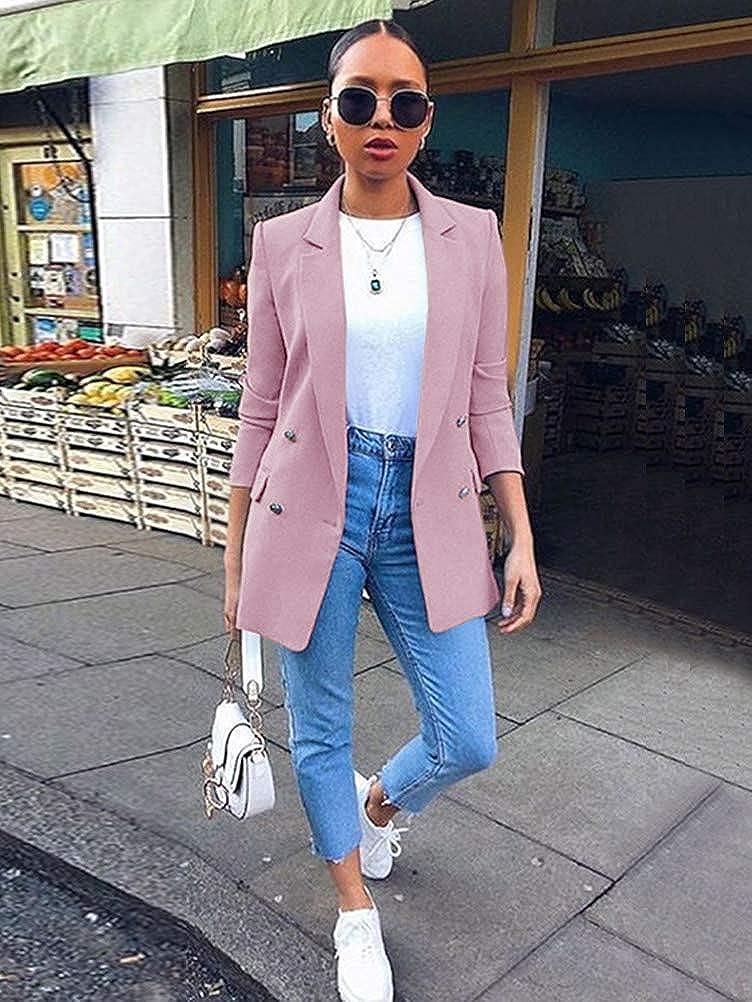 Minetom Damen Cardigan Elegant Blazer Langärmliger Anzugjacke Einfarbig Blazer Business Slim Fit Bolero Jacke Anzug Trenchcoat Violett