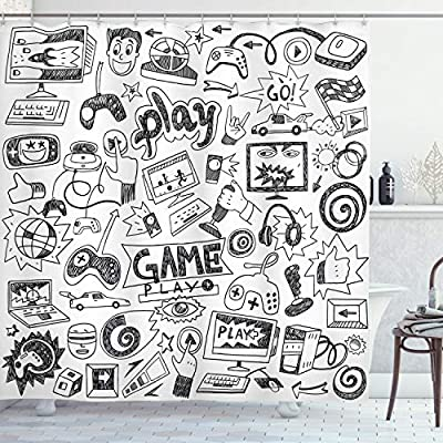 "Ambesonne Video Games Shower Curtain, Monochrome Sketch Style Gaming Design Racing Monitor Device Gadget Teen 90's, Cloth Fabric Bathroom Decor Set with Hooks, 70"" Long, White and Black from Ambesonne"