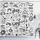 Ambesonne Video Games Shower Curtain, Monochrome Sketch Style Gaming Design Racing Monitor Device Gadget Teen 90's, Cloth Fabric Bathroom Decor Set with Hooks, 70' Long, White and Black