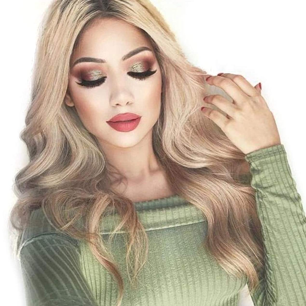 シャワー高層ビル疼痛YESONEEP 女性のための長い巻き毛を持つ高温シルクケミカルファイバーかつら合成毛髪のかつらロールプレイングかつら (色 : Photo Color, サイズ : 65cm)