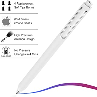 Stylus Pen for iPad, XIRON Active Capacitive Rechargeable iPad Pencil Stylus Digital Pen iPens with 4pcs 2mm Replaceable Fine Point Rubber Tips for Apple iPad/iPad Pro/iPhone (White)