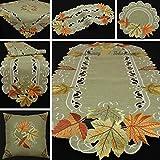 Runner con motivo foglio d'autunno, tovaglia effetto lino, colore verde e beige, Poliestere, beige., 35 cm x 70 cm