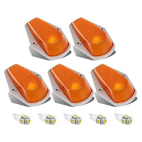 Partsam 5pcs Top Cab Marker Roof Running Light Amber Cover Lens 15442 + 5050 T10 194