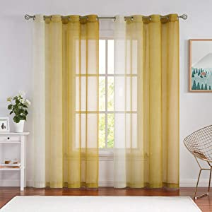 Nottingson Home Ombre Sheer Curtains Mustard Yellow and Orange Curtains 84 Inches Long for Living Room Faux Linen Textured Gradient Print Window Treatment Sets for Bedroom Grommet Top,54