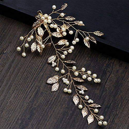 niumanery Hair Band Gold Leaves Hair Clip Bride Headwear Wedding Women Jewelry Accessories