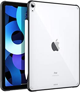 MoKo Case Fit iPad Air Case 10.9 inch (iPad Air 4th Gen 2020) - Slim Transparent Hard PC Clear Back Cover, Flexible TPU Shell with Air-Pillow Edge Bumper, Support Apple Pencil 2 Charging, Black