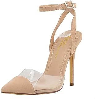 Women's Pointed Toe Transparent Clear PVC Crisscross Ankle Strap Stiletto Heel Pump Shoes