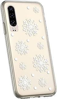 Jinghuash kompatibel med Huawei P30 skal [julserien] skyddshölje transparent silikon jul jul jul mönster ultratunn mjuk ge...