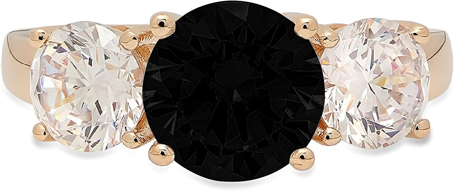 3.25ct Brilliant Round Cut Solitaire 3 stone Genuine Flawless Natural Black Onyx Gemstone Engagement Promise Statement Anniversary Bridal Wedding Ring Solid 18K Yellow Gold