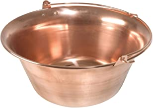 acerto Gulaschkessel aus Kupfer – 30 Liter Hitzebeständig Antibakteriell Geschmacksneutral | Robuster Kupferkessel für offenes Feuer | Hochwertiger Suppenkessel für Dreibein-Gestelle 30 Liter